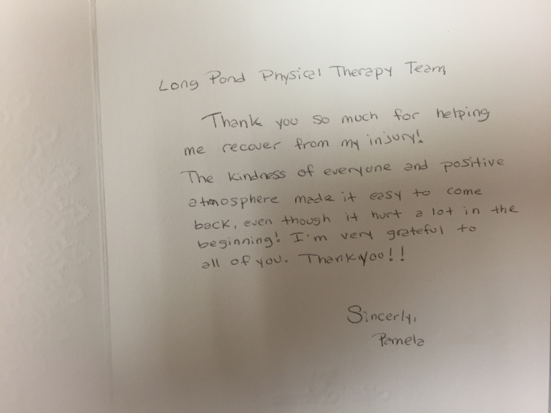 pamela physical therapy testimonial card